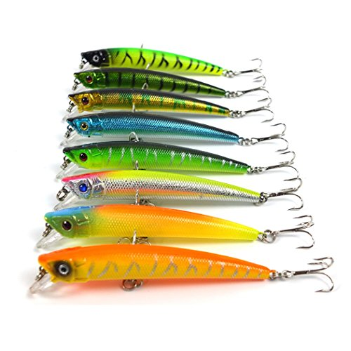 Aorace 8pcs/lot New Sunlure Style Jointed Dying Fish Fishing Lures Fishing Tackle 6# Hook Fishing Bait 8 Color Available 9.5cm/8g (Saltwater Striper Fishing)