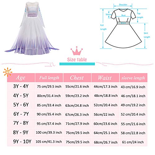 YOJOJOCO Princess Costume Halloween Girls' Dresses Birthday Party Dress Up Clothes for Little Girls Toddlers (5Y - 6Y, White+Purple)