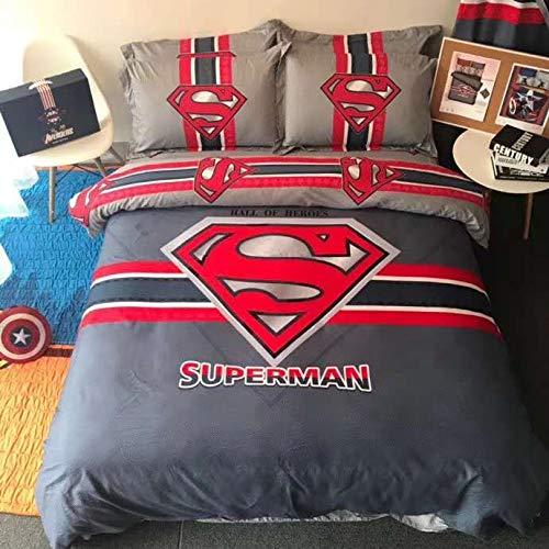 EVDAY Spider-Man Batman Captain America Iron-Man Transformers Bumblebee Superman 3D Cartoon Kids Bedding Including 1Duvet Cover,1Flat Sheet,2Pillowcases Queen Full Twin Size