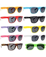 grinderPUNCH Wayfarer Sunglasses 10 Bulk Pack Lot Neon Color Party Glasses