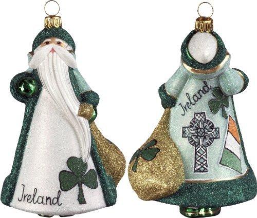 Ireland Irish Santa Celtic Cross Polish Glass Glitterazzi Christmas Ornament (Cross Celtic Christmas Ornament)
