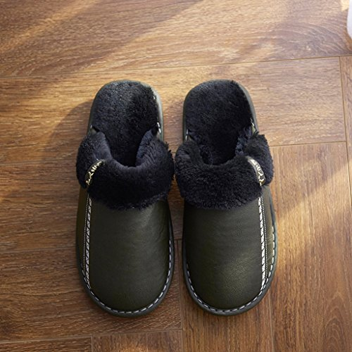 HYLR Hiver pantoufles chaudes intérieures PU et coton imperméable à l'eau antidérapant confortable pantoufles cadeaux de vacances 50%OFF