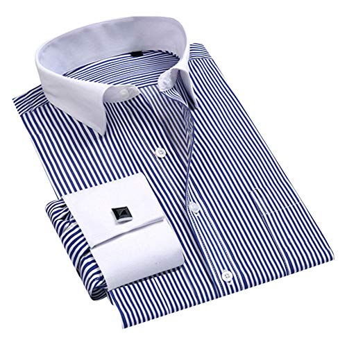 - Cloudstyle Men's Dress Shirt Slim Fit Button Down Stripe Checked Shirt Blue
