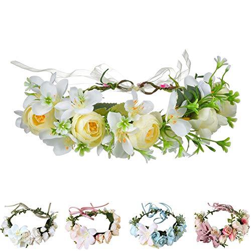 Handmade Adjustable Flower Wreath Headband Halo Floral Crown Garland Headpiece Wedding Festival Party (D15-white(AD1023))