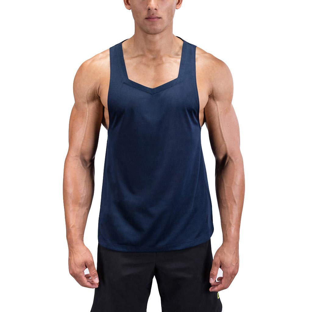 Bohelly Hot 2019 New Men Blouse, Men's Summer Casual Fashion Fitness Pure Color Breathable Sports Vest Top Blouse Blue