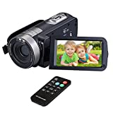"Video Camera Camcorders, VPRAWLS Remote Control Handheld Digital Camera with IR Night Vision, HD 1080P 24.0MP 16X Digital Zoom Video Recorder with 3.0"" LCD and 270 Degree Rotation Screen (2 Batteries)"