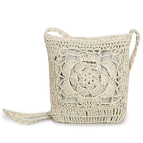 Olyphy Straw Square Shoulder Purse For Women Retro Woven Crossbody