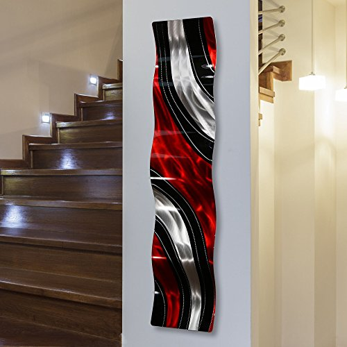 Statements2000 Modern Red, Black and Silver Vibrant Metal Wall Wave Accent - Abstract Contemporary Hand-painted Home Office Decor Sculpture - Critical Mass Wave by Jon Allen - 46