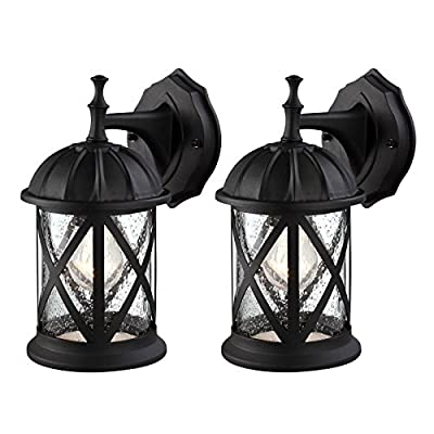 Outdoor Exterior Wall Lantern Light Fixture Sconce Twin Pack, Matte Black with Seeded Glass