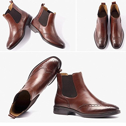 wdjjjnnnv Women Leather Flat chunky heel Faux Lined Warm Casual Comfort Harness Ankle Boots BROWN-36 MkHDeG