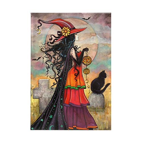 CafePress Witch Way Halloween Witch Art Magnets Rectangle Magnet, 2