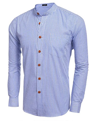 Cindere Mens Slim Fit Long Sleeve Button Down Work Shirts, Blue