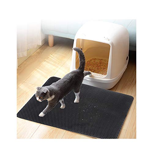 MATERIALAL Wateroof Cat Litter Mat Double Layers Cat Litter Trapper Mats Easy Clean Non Slip Collect Sands for Protect,Black,40X50Cm