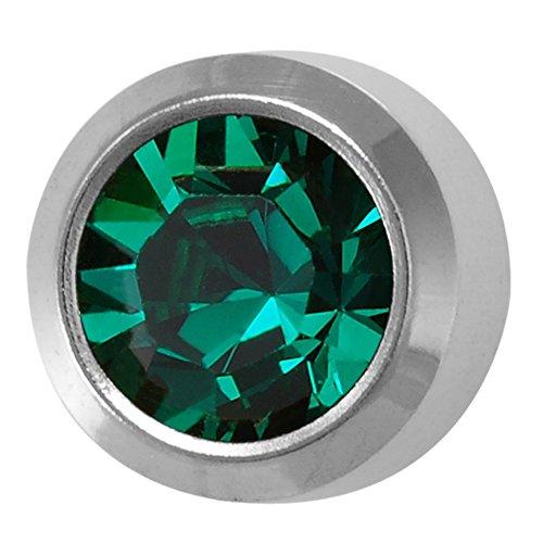 Regular 4mm Stainless Steel Bezel Setting Ear Piercing Stud Earrings Birthstone (Tiffany Emerald Earrings)
