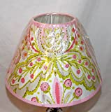 NEW GIRLY DECORATIVE UNO LAMP SHADE 7'' TALL (Light Pink & Green Ornate Paisley 7 Flower Design)