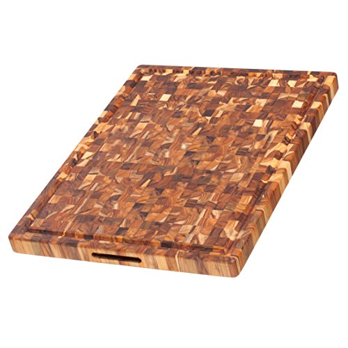 - Teak Cutting Board - Rectangle Butcher Block With Juice Canal And Hand Grips (24 x 18 x 1.5 in.) - By Teakhaus