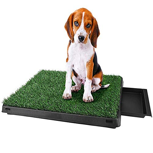 (V.JUST Pet Dogs Indoor Toilet Dog Grass Mat Training Pad Pet Potty Training Pads with Tray and Loo Pad)