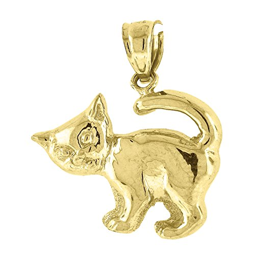 10kt Yellow Gold Womens Kitty Cat Ht:23.5mm x W:20.1mm Animal Charm Pendant - Kitty Charm Pendant