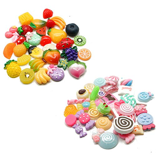 - JETEHO Set of 60 Pieces Slime Charms Cute Set Assorted Fruits & Candy Charm for Craft Making, Ornament Scrapbooking DIY Crafts