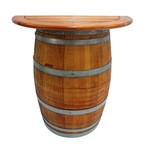 Master Garden Products Wine Barrel Stand with Teak Wood Table Top (Reclaimed Furniture Garden Teak)