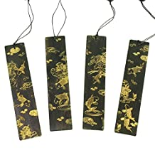 Ancient-Gift 4 Pack Wood Bookmark with Fancy Carp & Lotus Business Gift