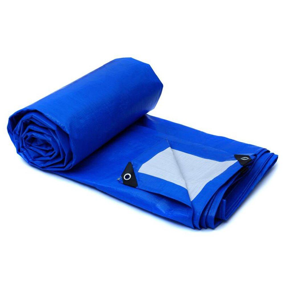 LIXIONG オーニング サンシェード雨布 オイルクロス ポリエチレン 酸耐性 防食 防水 日焼け止め、 青と白、 厚さ0.28mm、 -155g / m 2、 10サイズ ( サイズ さいず : 12x18m ) B07C27D19C   12x18m
