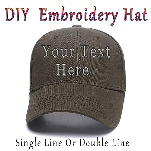 (DIY Embroidered Baseball Hat,Custom Personalized Trucker Cap,Add Text(Single Double Line))