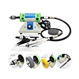 Uttiny Jewelry Polishing Machine,350W 10000r/min Mini Multifunction Polisher Work As Both Jewelry Buffer and Carving Kit with 0.6-6.5mm Large Range Chuck for Jewelry Jade Rock (White)