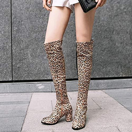 Stiefel Damenmode Leopard Razamaza Overknee Stiefel wOn0Pk
