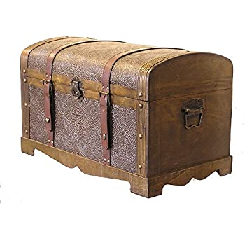 this item round top medium victorian steamer trunk wooden treasure hope chest