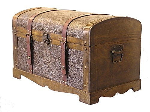 Styled Shopping Round Top Medium Victorian Steamer Trunk Wooden Treasure Hope Chest ()
