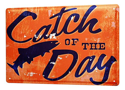 LEotiE SINCE 2004 Tin Sign M.A. Allen Retro Deco U.S. catch of the day fish fishing lucky 20x30 cm Large Metal Wall Decoration Vintage Retro Classic Plaque