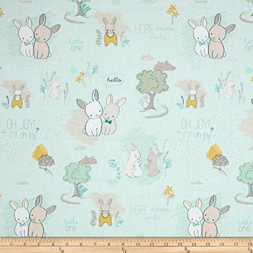 Minty Green - Art Gallery Fabrics Art Gallery Littlest Furry Tales Fabric by the Yard, Minty