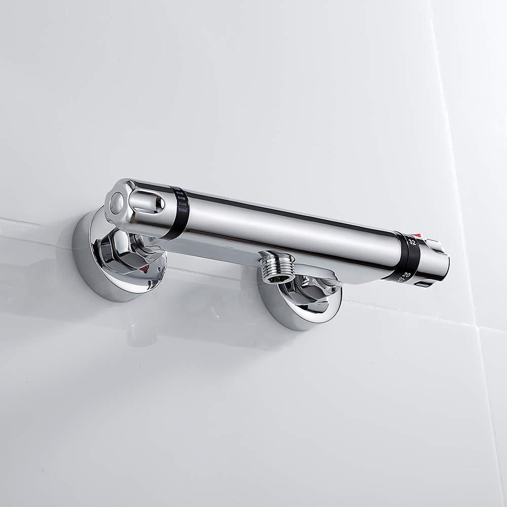 Brause iBath cromato con pulsante di sicurezza da 38 /°C Unten con termostato Miscelatore termostatico per doccia