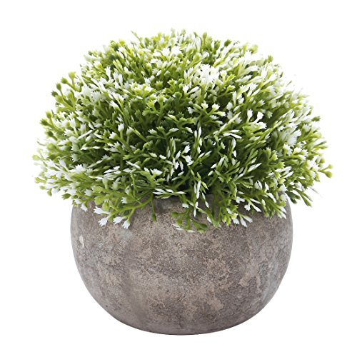 HC STAR Artificial Plant Potted Mini Fake Plant Decorative Lifelike Flower Green Plants - 1202 (Topiary Rose Make)