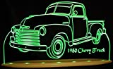 1950 Chevy Pickup Truck + Visors Awesome 21'' Acrylic Lighted Edge Lit LED Sign Light Up Plaque 50 VVD1 Full Size USA Original