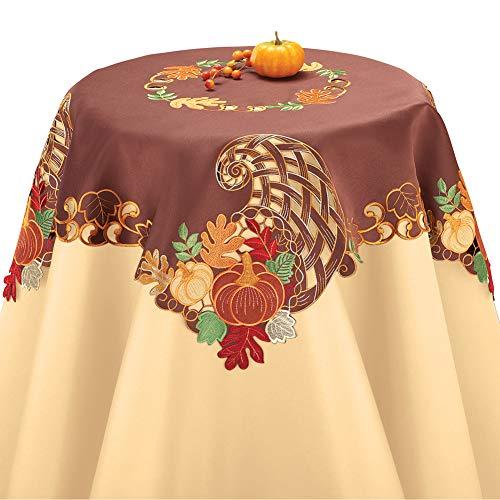 Embroidered Cornucopia Table Linens Square, Square