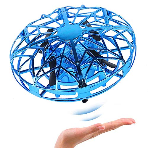 Mini Drones for Kids Hand Controlled, UFO Flying Ball with Led Light, Hands Free Hover Quad Drone Auto Sensing Obstacle Drone for Beginners Children Kids Adults, Blue