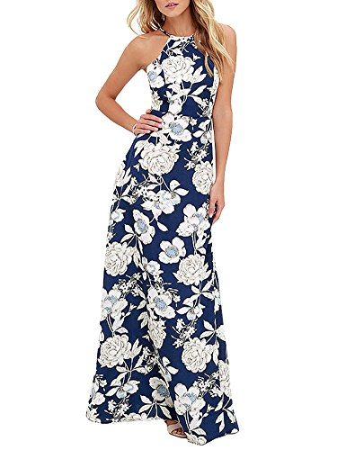 Romacci Women's Sleeveless Halter Neck Maxi Dress Vintage Floral Print Backless Beach Long Dresses S-5XL,Blue/Black
