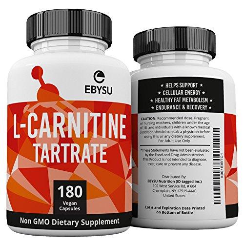 EBYSU L-Carnitine Tartrate - 180 Capsules 1000mg Max Strength Pure L Carnitine Supplement by EBYSU (Image #6)