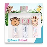 Image of SmartInfant Monkey, Giraffe, and Elephant Design Pacifier Clip, 3-Pack