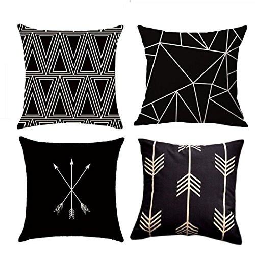 18' Tailored Throw Pillow - Decorative Throw Pillow Covers,Set of 4 Cotton Linen Toss Black and Beige Pillows Sofa Canvas Fabric Geometric Slubbed Square Couch Cushion Covers Accent Sham Cases For Home Office Decor 18 x 18''