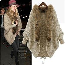 Picama Womens Autumn Winter Warm Coat Fur Collar Bat Sleeve Cardigan Sweater Jackets (Fur Collar)