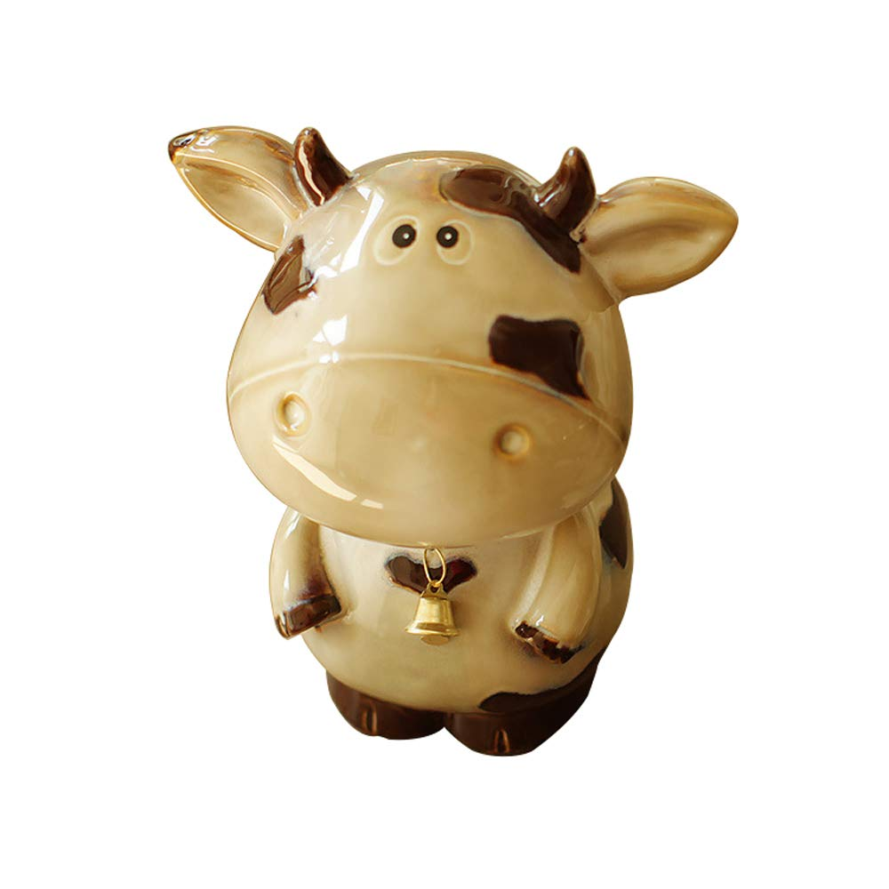 ADbox Ceramic Piggy Bank Coin Storage, Money Box Cow Gifts for Children Friends, Also Ornaments for Room Decorations,L16.5x10.5x19cm by ADbox
