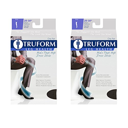 (Truform Compression 20-30 mmHg Thigh High Dress Style Socks, Black, Large, 2 Count)