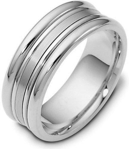 - 8mm Titanium and Platinum Wedding Band Ring - 10.75