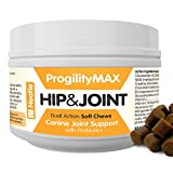 Progility Chewable Hip and Joint Supplement for Dogs - Probiotics - Helps Relieve Joint Pain and Restore Flexibility - Glucosamine - Chondroitin - MSM - Hyaluronic Acid - Vitamin C - (60 Chews)