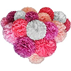 Voplop Paper Pom Poms - 20 pcs of 8, 10, 14 Inch - Paper Flowers - Perfect For Wedding Decor - Birthday Celebration - Table and Wall Decoration (Pink mix)