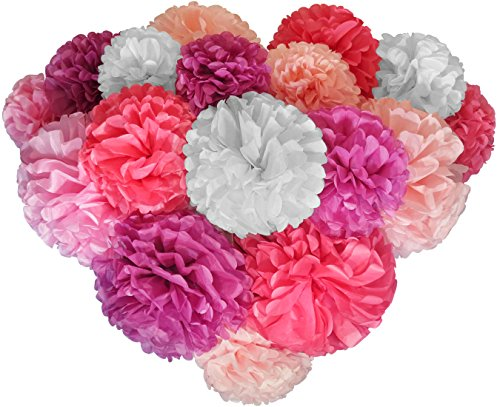 Voplop Paper Pom Poms - 20 pcs of 8, 10, 14 Inch - Paper Flowers - Perfect For Wedding Decor - Birthday Celebration - Table and Wall Decoration (Pink mix)]()