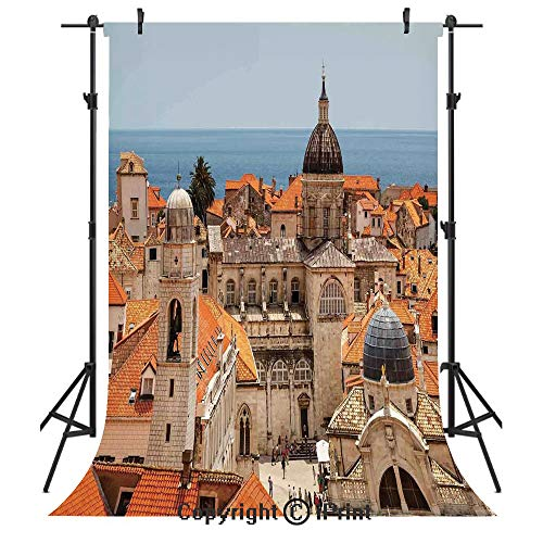 (Cityscape Photography Backdrops,Aerial View on The Old City of Dubrovnik City Walls Medieval Croatia European Deco Decorative,Birthday Party Seamless Photo Studio Booth Background Banner 5x7ft,Multi)